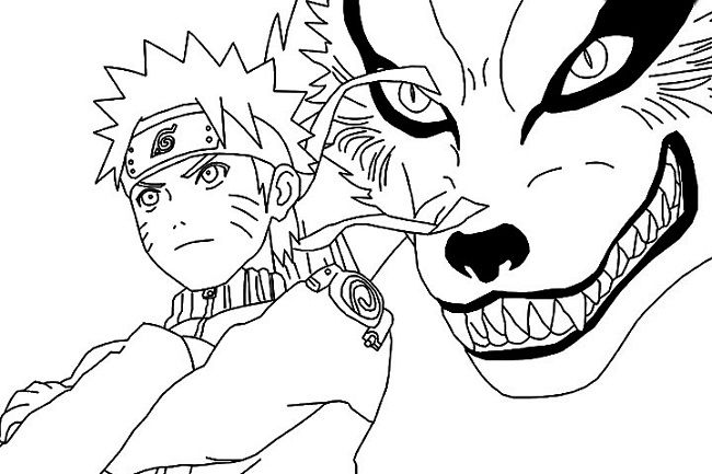 Pictuers Of Narutoand The Nine Tailes Coloring Pages Halaman