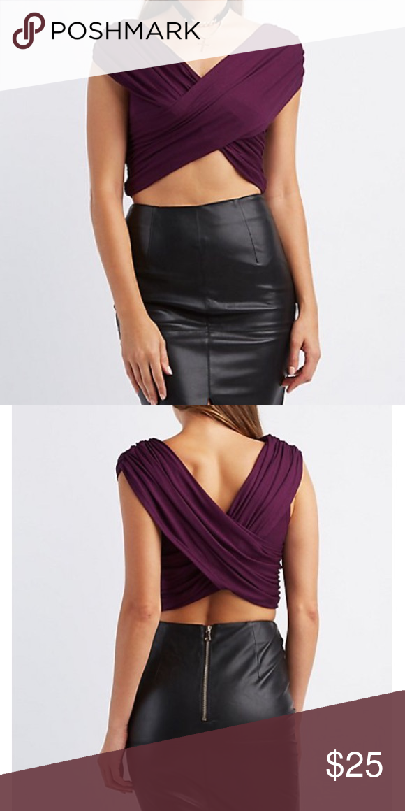 5192f14ea2d37c New Purple Deep V Neck Twisted Crop Top Small New Summer V Neck Wrap Crop  Top. Neck WrapHigh Waisted ...