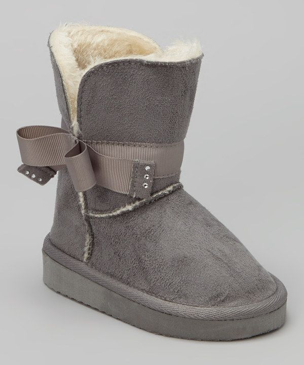 Look at this Chatties Gray Bow Boot on #zulily today!
