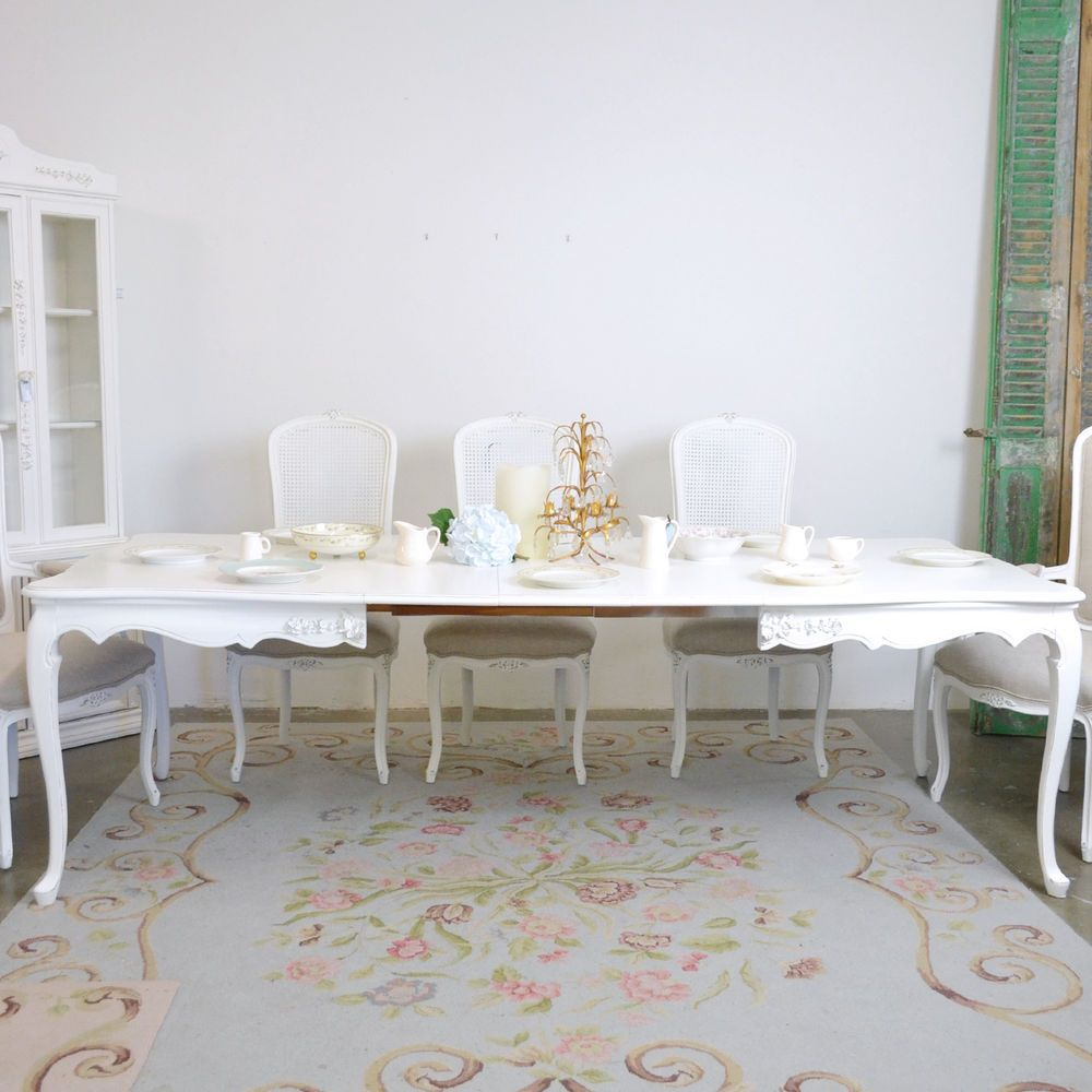 Long kitchen tables  Shabby Cottage Chic French Style Dining Table with  Leaves Long