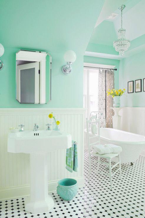 Mint Green Paint Colors Vintage Bathroom Benjamin Moore Spirit In The Sky Anna Forkum Green Bathroom Mint Green Bathrooms House Of Turquoise