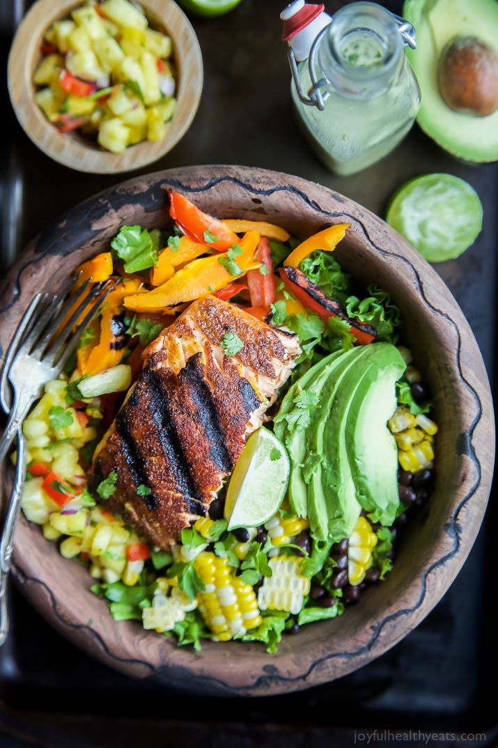 Blackened Grilled Salmon Salad With Pineapple Salsa Recipe Grilled Salmon Salad Salmon Salad Salmon Salad Recipes