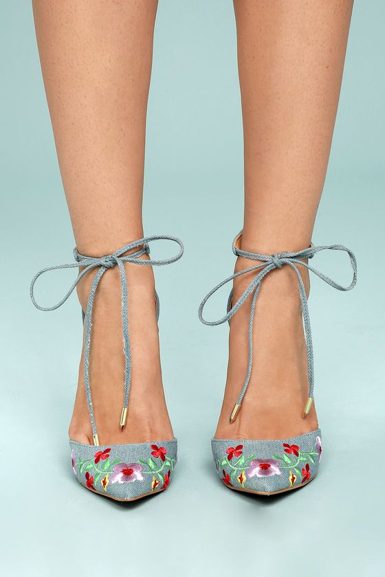 Cassia light blue embroidered lace up heels blue fabric floral cassia light blue embroidered lace up heels ccuart Image collections