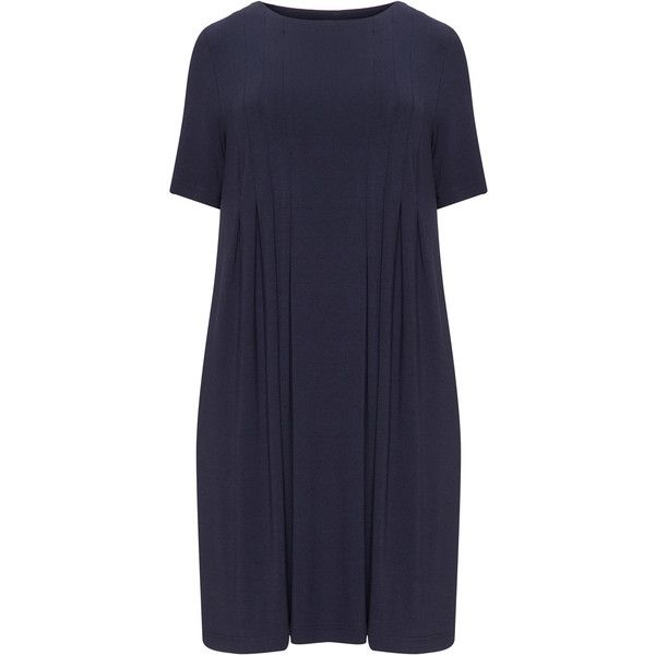 Jo and Julia Dark-Blue Plus Size Pleated jersey shift dress (€120) ❤ liked on Polyvore featuring dresses, plus size, plus size shift dress, plus size jersey dress, knee length shift dress, women plus size dresses and knee length dresses