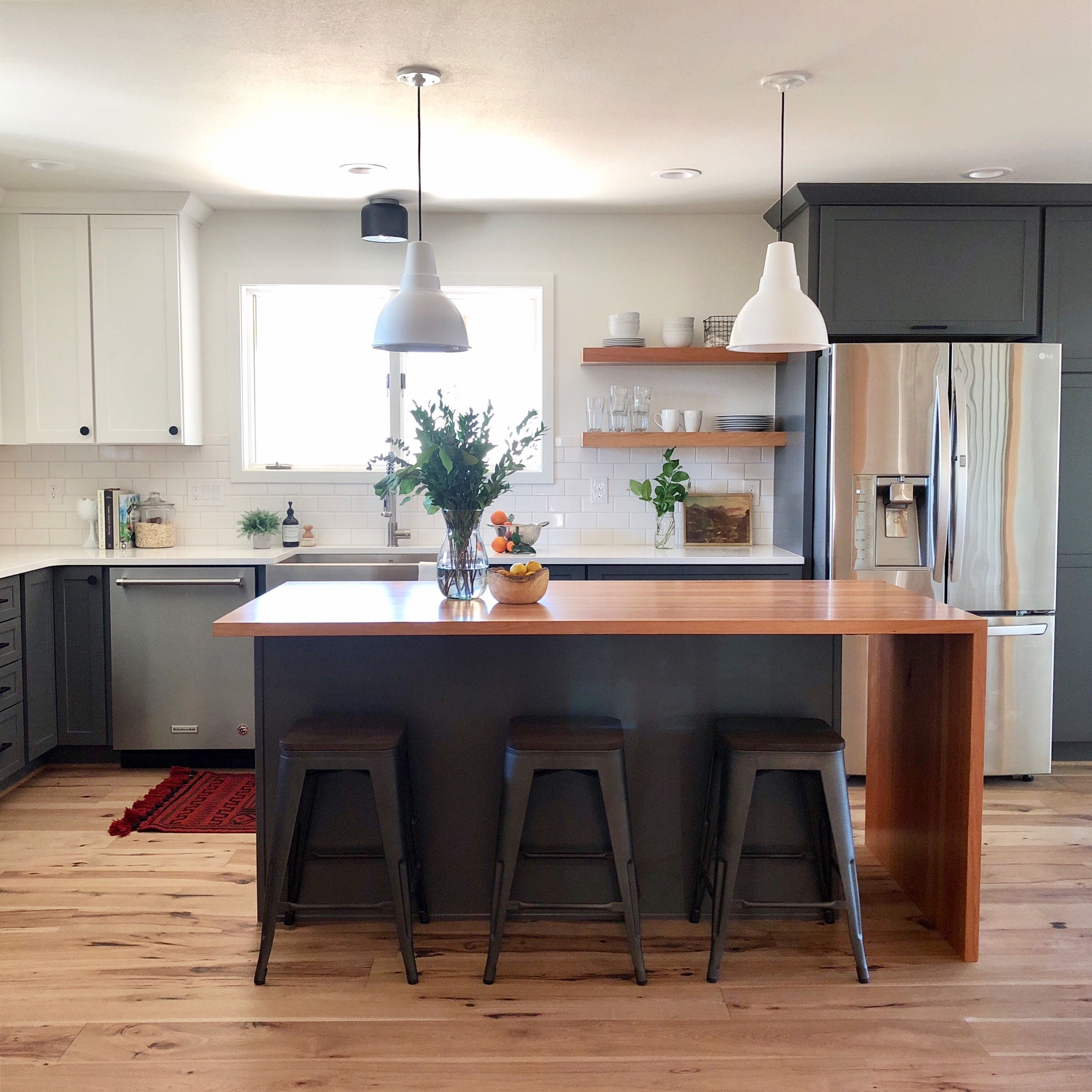 Butcher Block Waterfall Island And Gray Cabinets Small Kitchen Furniture Kitchen Design Small Butcher Block Island Kitchen