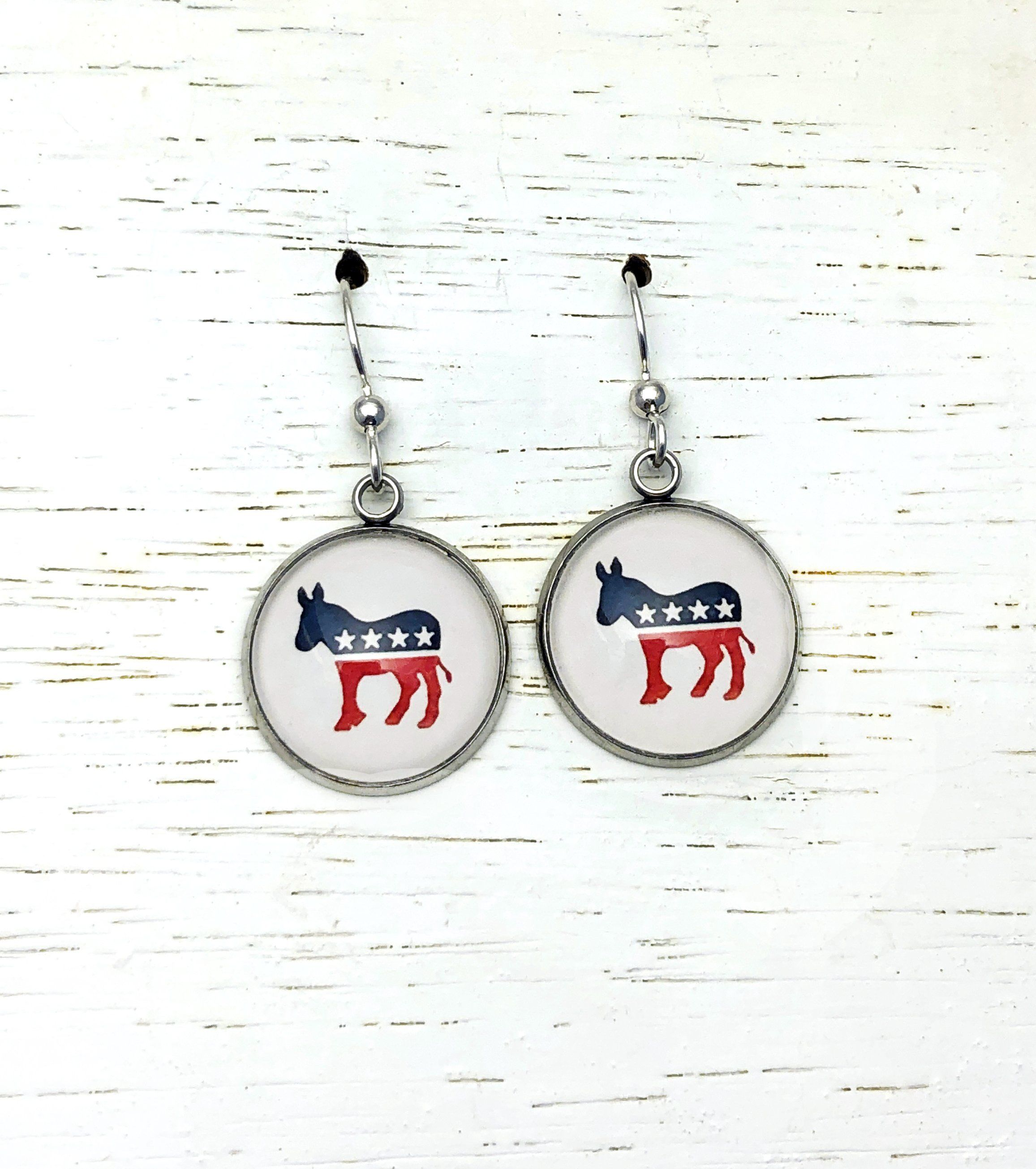 Democratic Donkey Post Earrings