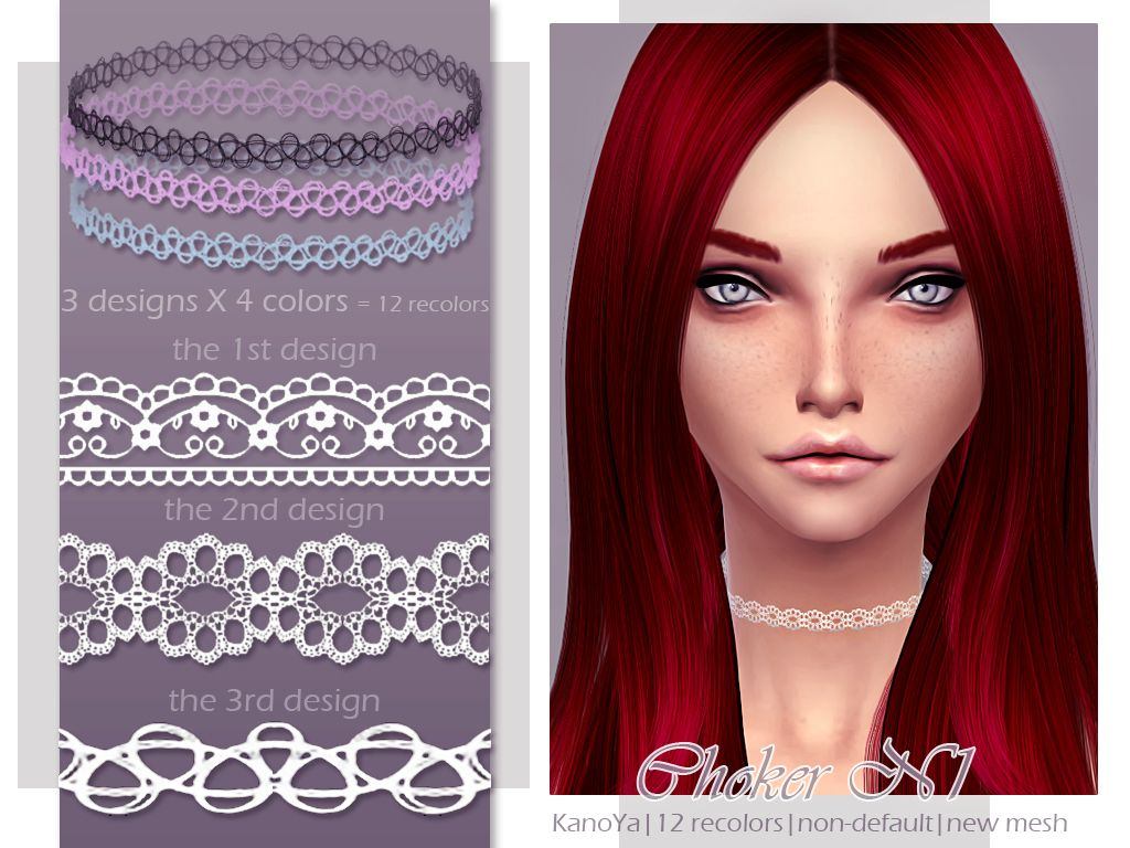 The sims 4 hair accessories - Kanoya Hq Chokers For Ts4 3 Designs Download Sims 4 Cc Finds