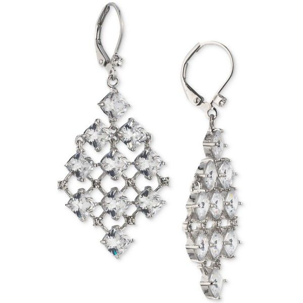 Ee Silver Tone Crystal Chandelier Earrings 75 Liked On Polyvore Featuring Jewelry