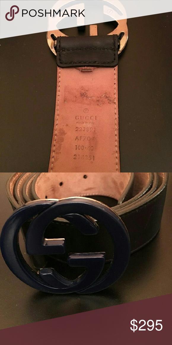 5f5f57105c6 Authentic Gucci Imprime Interlocking G Navy Matte Authentic Gucci Imprime  Interlocking G Navy Matte Blue Mens Belt 90cm Size 30-32 Accessories Belts