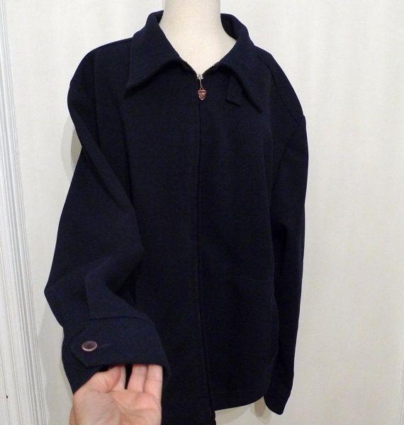 """Vintage 60s Navy Blue Harrington Jacket/ Mens 50 / McGregor """"Drizzler"""" by BibbysRocket, $54.00"""