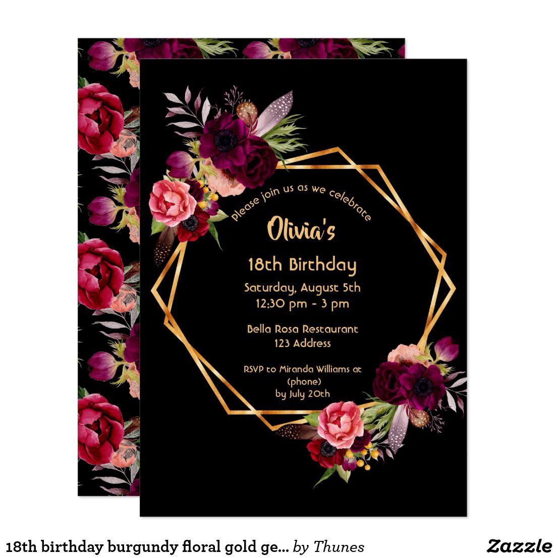 18th birthday burgundy floral gold geometric black