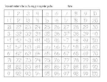 number tracing 0 0 trace numbers 1 100 on the back students fill in ...
