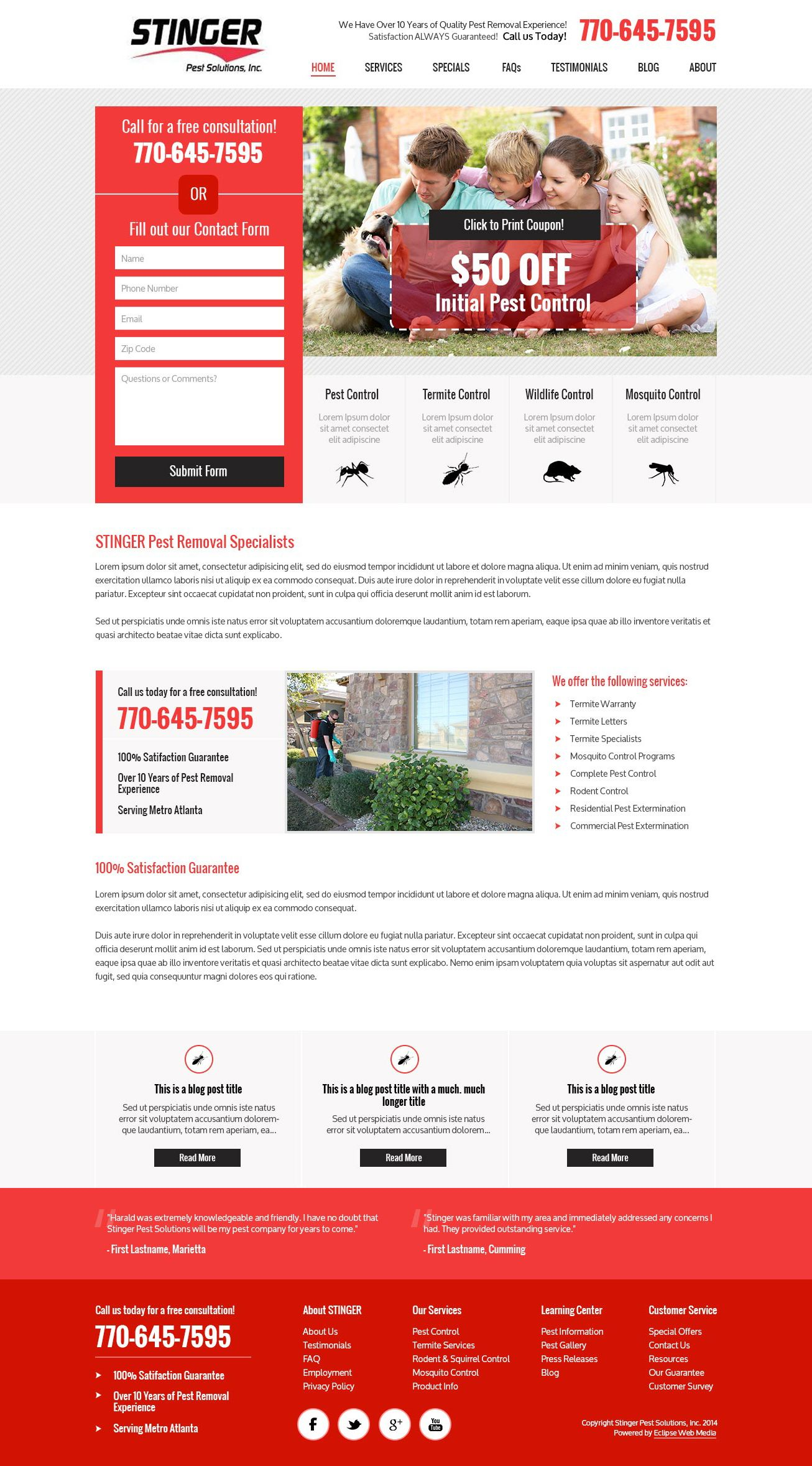 Website Design For An Exterminator Web Design Website Design Web Inspiration