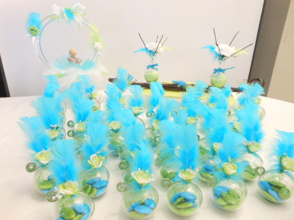 Centre de table bapteme gar on vert anis et bleu turquoise - Centre de table bleu turquoise ...