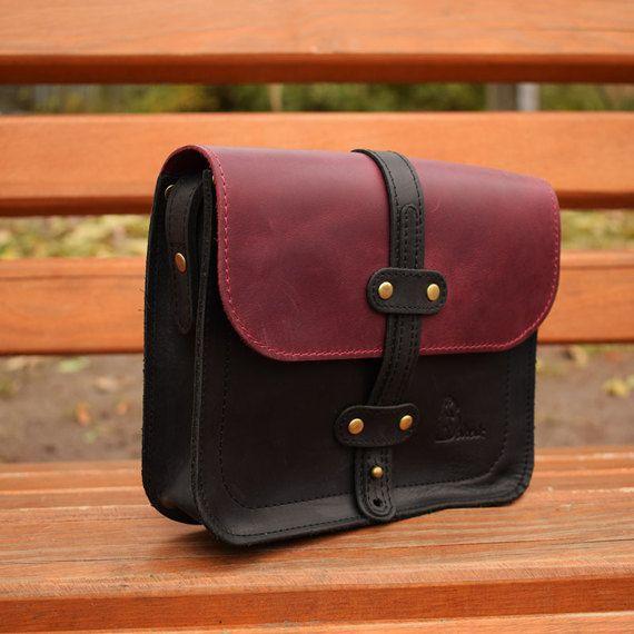 fa7b80fa25 Handmade Messenger bag Leather Cross body purse Ipad Bag Leather Shoulder  bag Handicraft handbag Combo colors Gift for her Original Gift