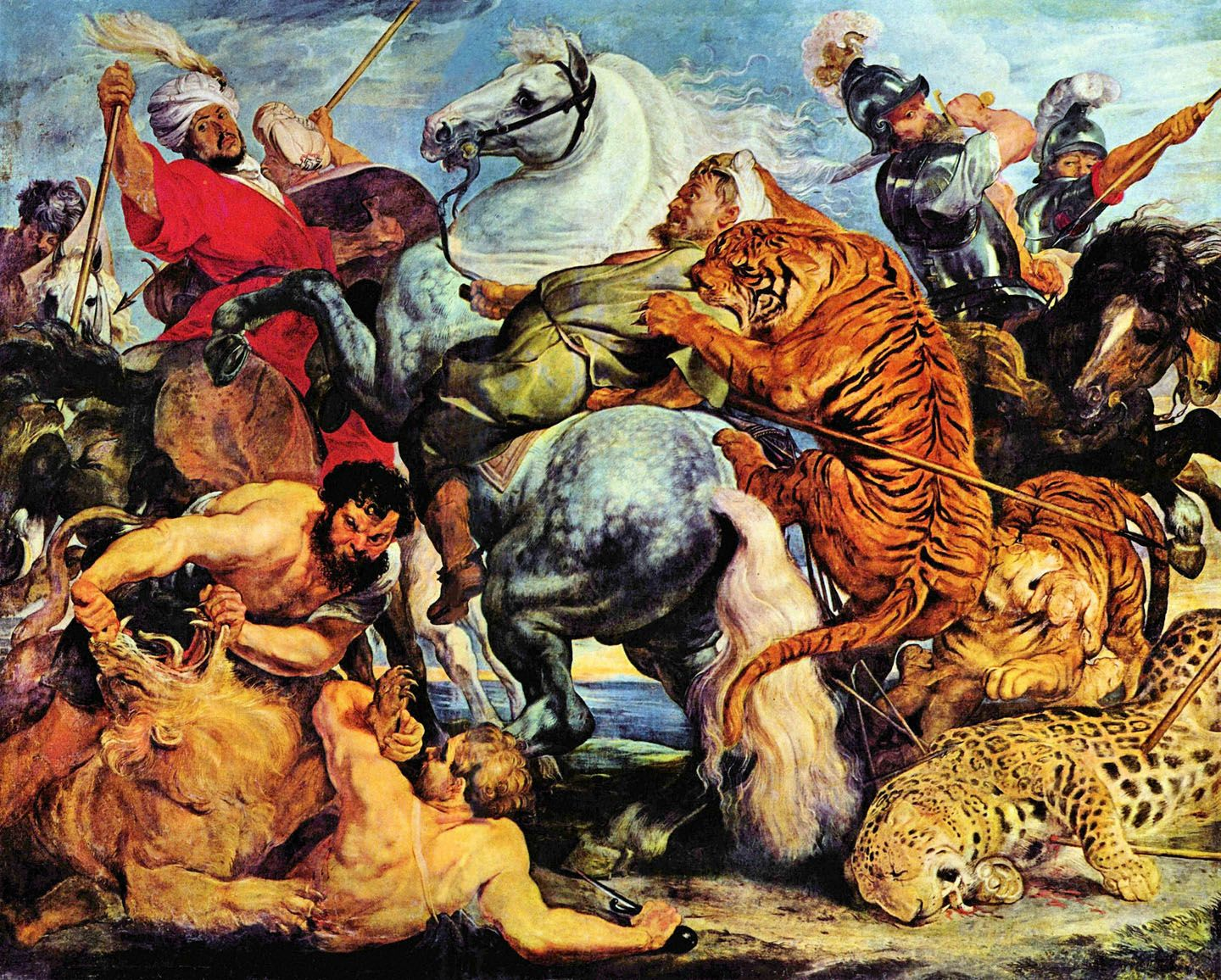 Lion and tiger hunting | Reproduced Fine Art