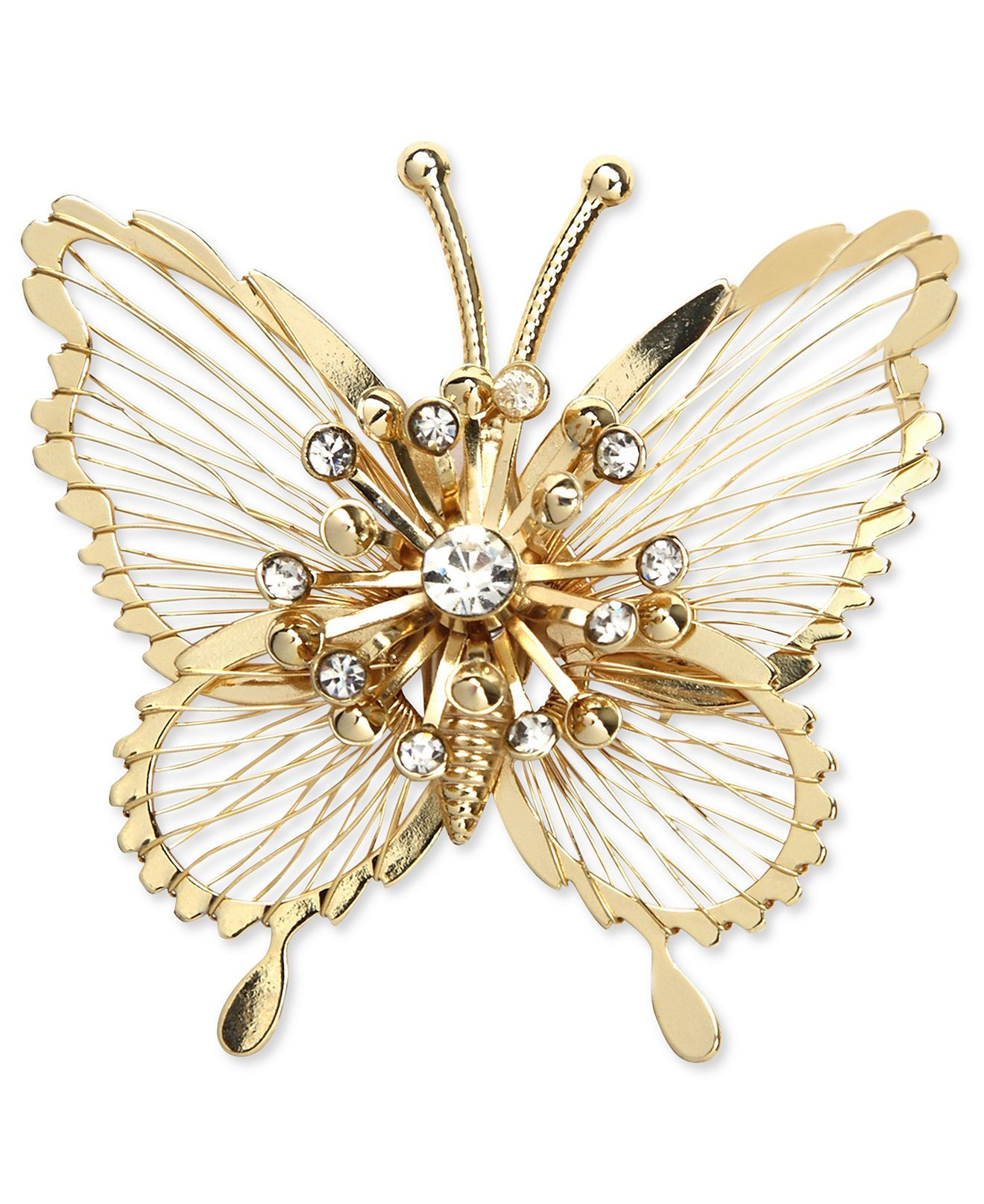 Jones New York Brooch, Gold Tone Crystal Butterfly Pin Box - All Fashion Jewelry - Jewelry & Watches - Macy's