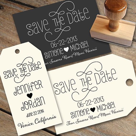 Save The Date Stamp With A Heart And Calligraphy By Designkandy 2800
