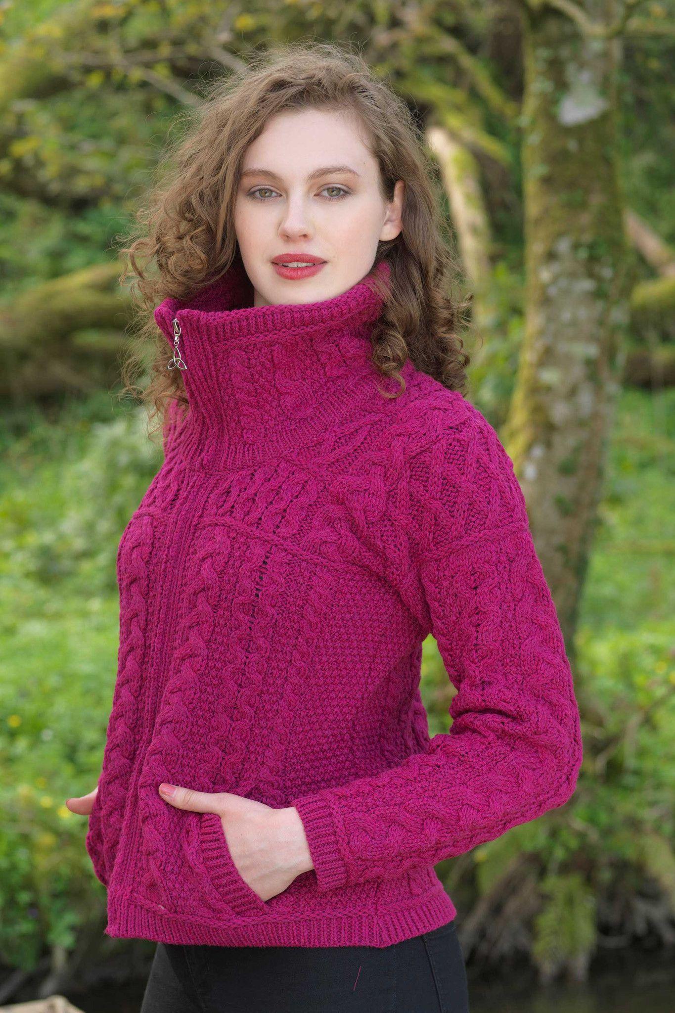 Women's Chunky Zip Aran Cardigan - Raspberry | Crochet ...
