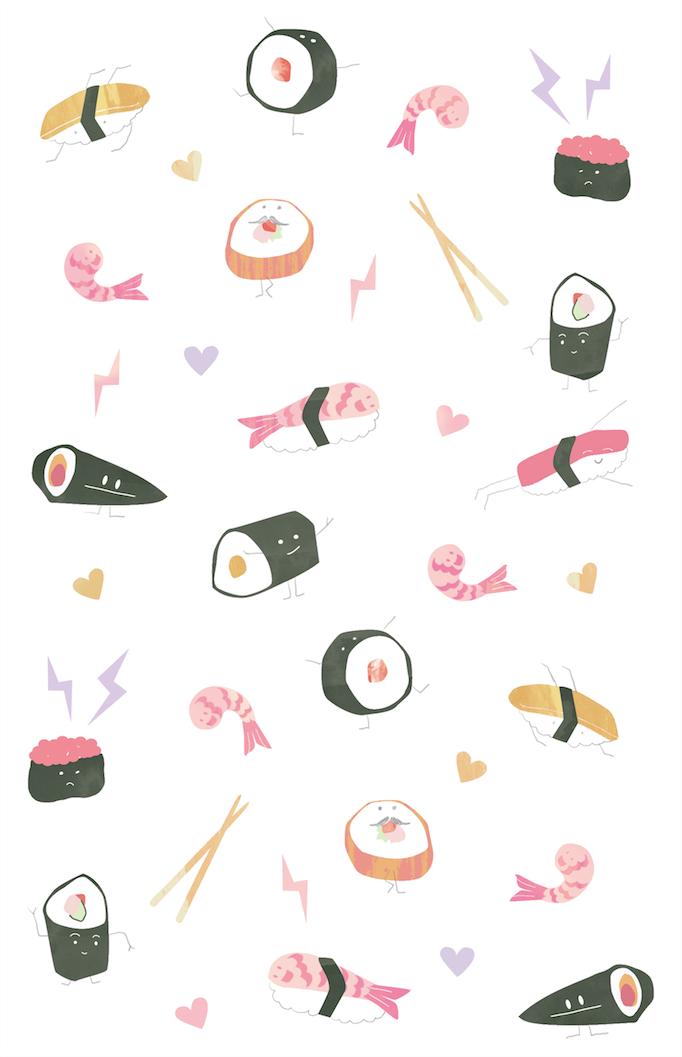 #sushi #illustration | Kawaii wallpaper, Sushi art, Cute ...