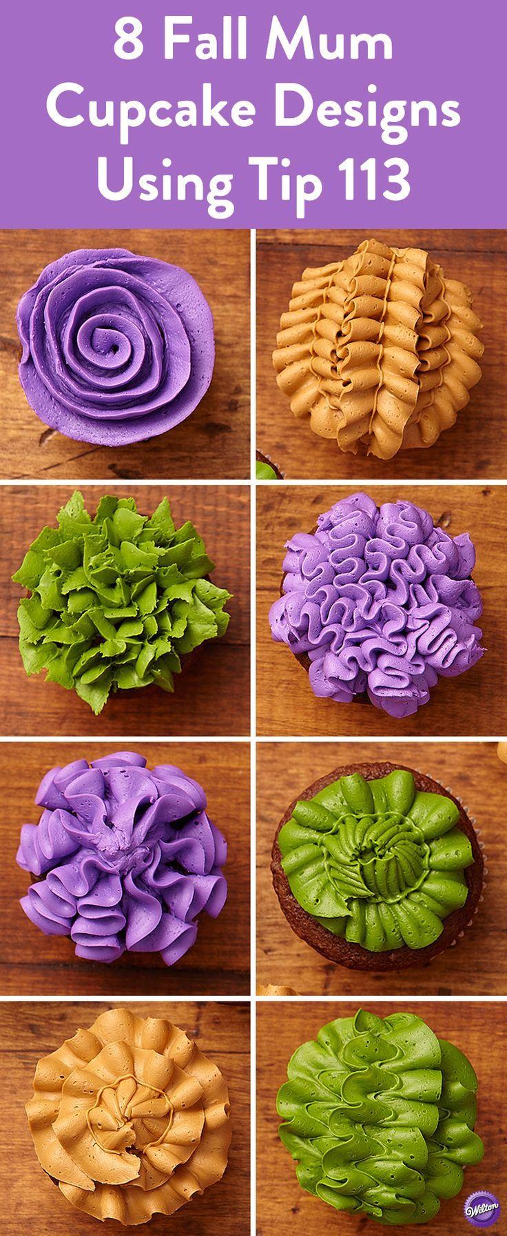 8 Fall Mum Cupcake Designs Using Tip 113 Create 8 stunning cupcake