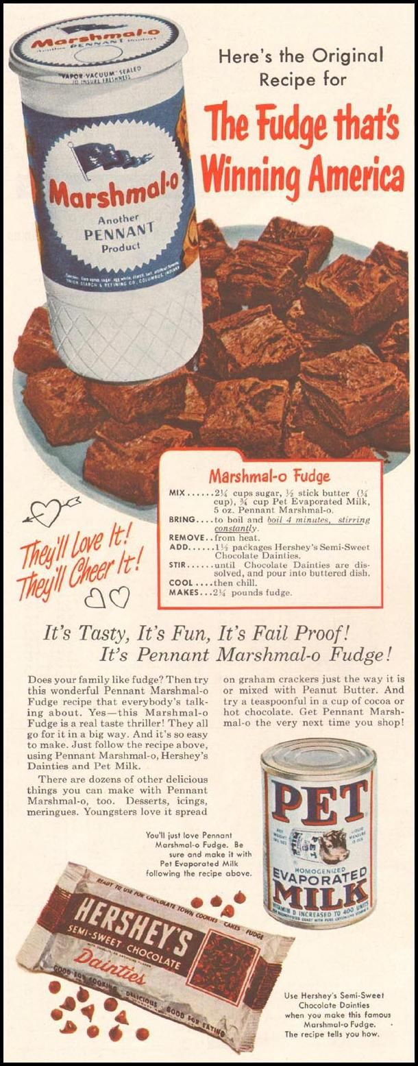 PENNANT MARSHMALL-O CREME, Pet milk, vintage Fudge recipe.... LADIES' HOME JOURNAL 03/01/1954 p. 80