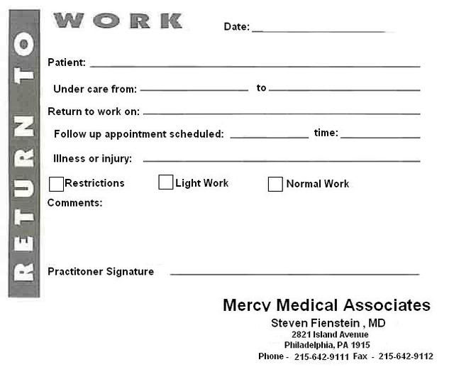 blank urgent care doctors note