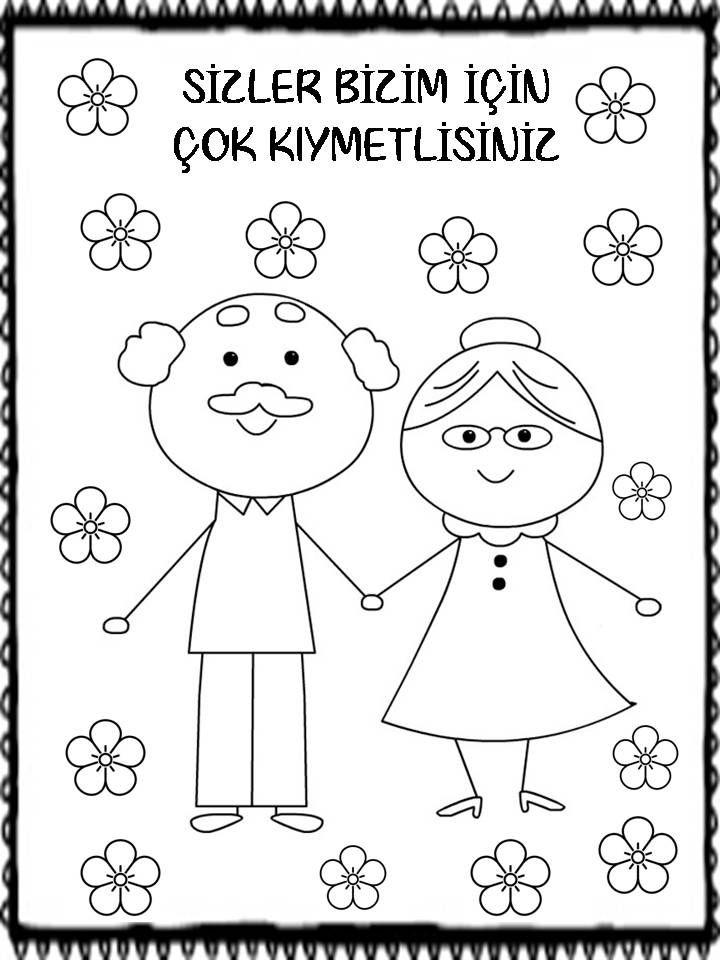 Rosa Adli Kullanicinin Turkce Panosundaki Pin Boyama Sayfalari Dede Ve Nine Faaliyetler