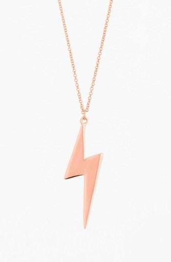 Love rose gold lightning bolt necklace by rebecca minkoff rose gold lightning bolt necklace by rebecca minkoff mozeypictures Image collections