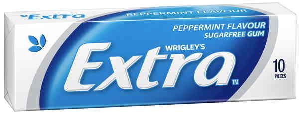 A bulk box of 24 packs of Wrigleys Extra Peppermint Pellet