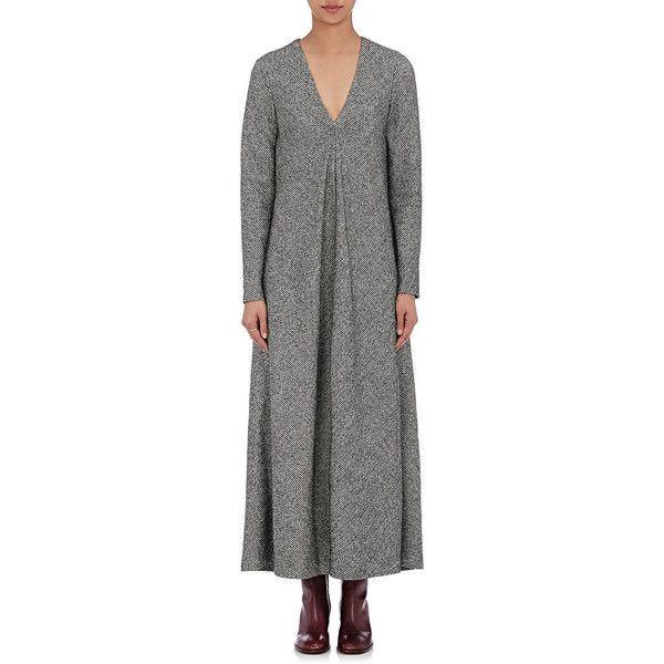 01944837e3 Maison Margiela Women's Tweed Long-Sleeve Maxi Dress (109,375 PHP) ❤ liked  on Polyvore featuring dresses, grey, lining dress, mais…