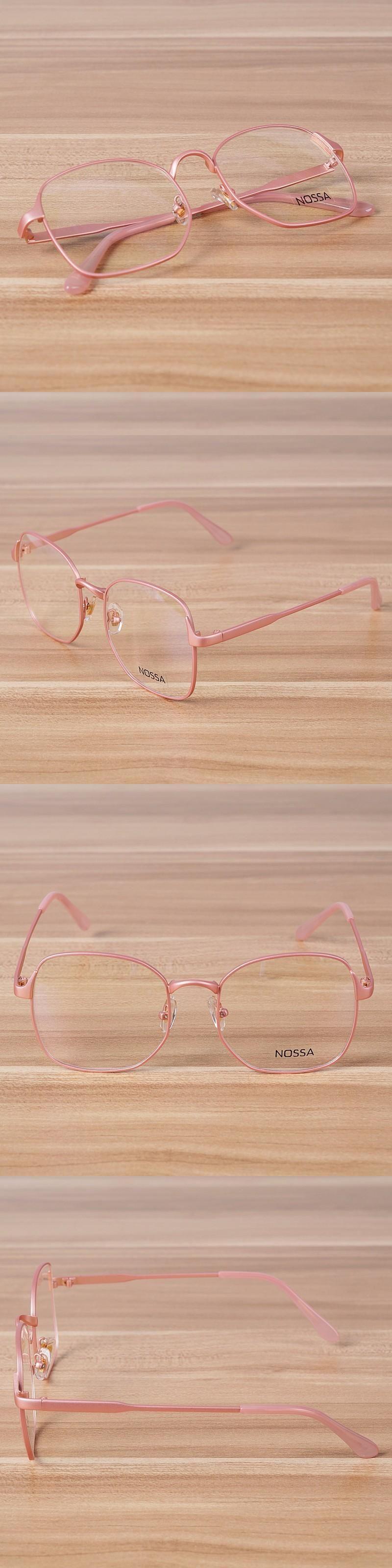 c0fcd2fde9f NOSSA Metal Big Frame Clear Glasses Women   Mens Pink Black Eyewear Female  Fashion Myopia Glasses