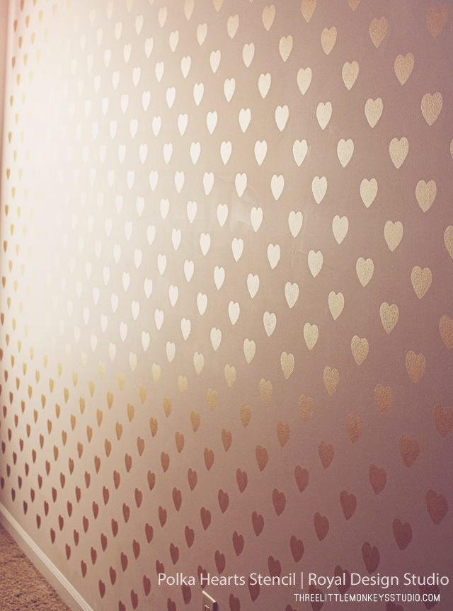 Polka Heart Wall Stencil Apartment 2016 Pinterest Wall