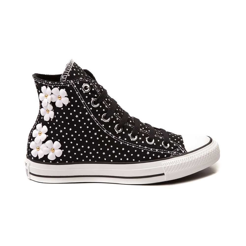37d17dd0f08 NEW Converse All Star Hi Floral Dots Sneaker Black White Womens Daisy Polka  Shoe  Converse  FashionSneakers