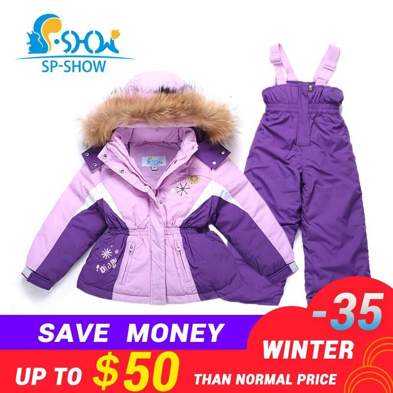3cd2248c7e BUY 1 SUIT GET 1 FREE SCARF -30 degrees SP-SHOW Winter 90% White down suit  nature fur hat two-piece suit with high 3-7 Age. Yesterday s price  US   21.60 ...
