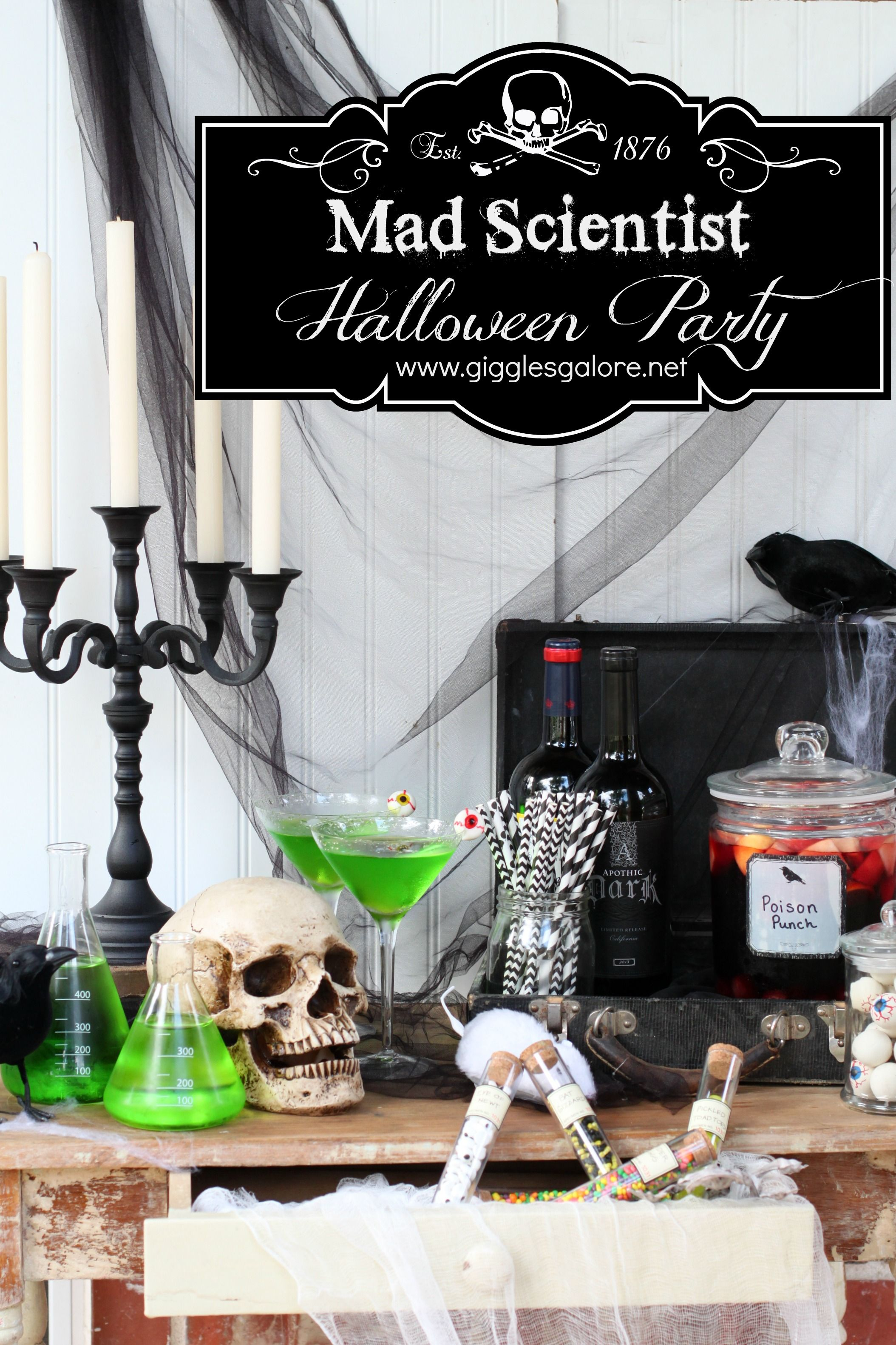 Adult halloween party decor - Mad Scientist Halloween Party Ideas