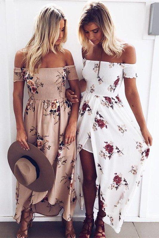 1fd9a366a4 Burgundy Off the Shoulder Slit Floral Smocked Boho Maxi Dress ...