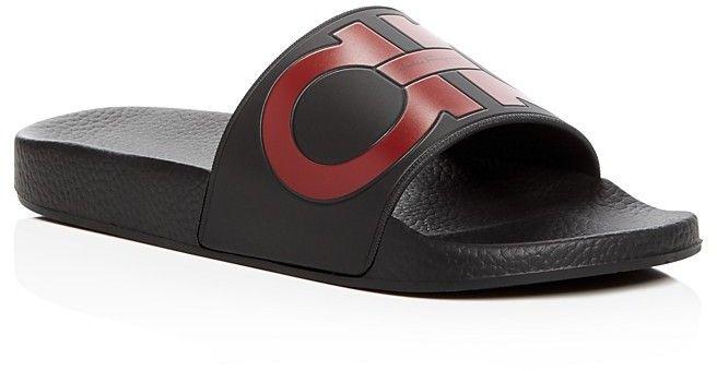 052b5822bbb01 Salvatore Ferragamo Men's Groove 2 Original Double Gancini Slide Sandals Men  - Bloomingdale's