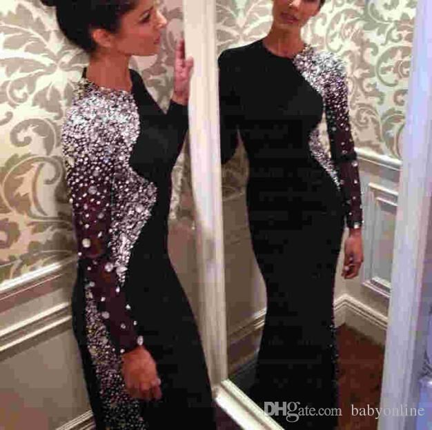 Ball Gown Long Sleeve Beaded Crystal Applique Watteau: 2016 Bling Crystal Beaded Black Long Sleeve Sheath Evening
