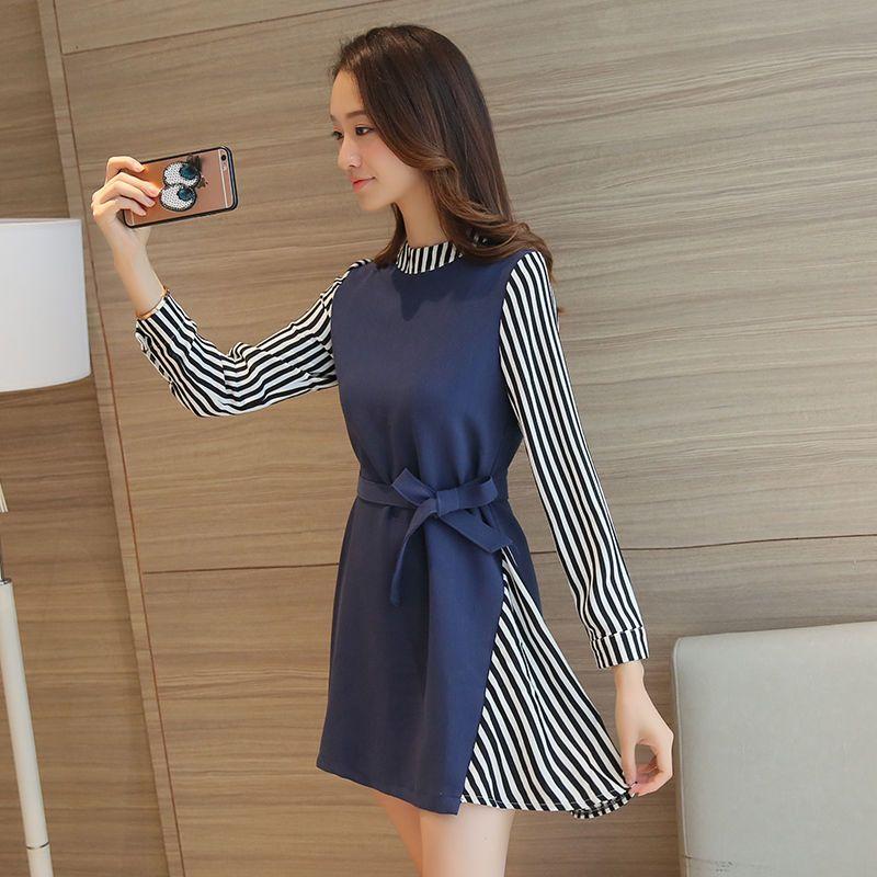 1d015166830a Zafraa Korean Blue Striped Dress