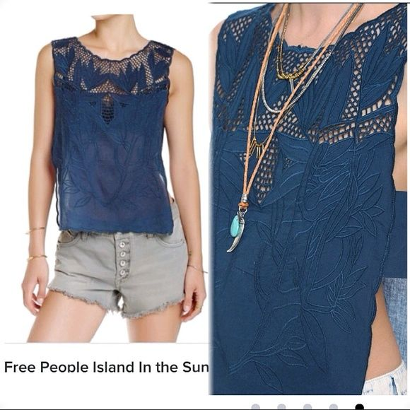 Free People Scallop-Trim Embroidered Top in Teal Free People 'Island In The Sun' Top. Bluish-Green color called 'Midnight'. Sheer lace & soft mesh detail the yoke of a sleeveless voile top finished with deep side vents and scalloped edges. Side strips connect the front & back. Semi-sheer throughout. - Crew neck style - Partially sheer netted yoke - Embroidered throughout - Open sides with wide strap detail - Scalloped edges 100% cotton, Machine wash cold, tumble dry low. NWT. XS. Runs true…