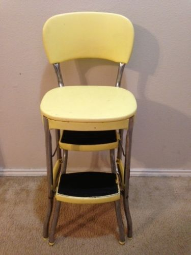 Stool Chair Costco Ohio State Of Medicine Vintage Metal Step Yellow Kitchen Pyrex Chairs
