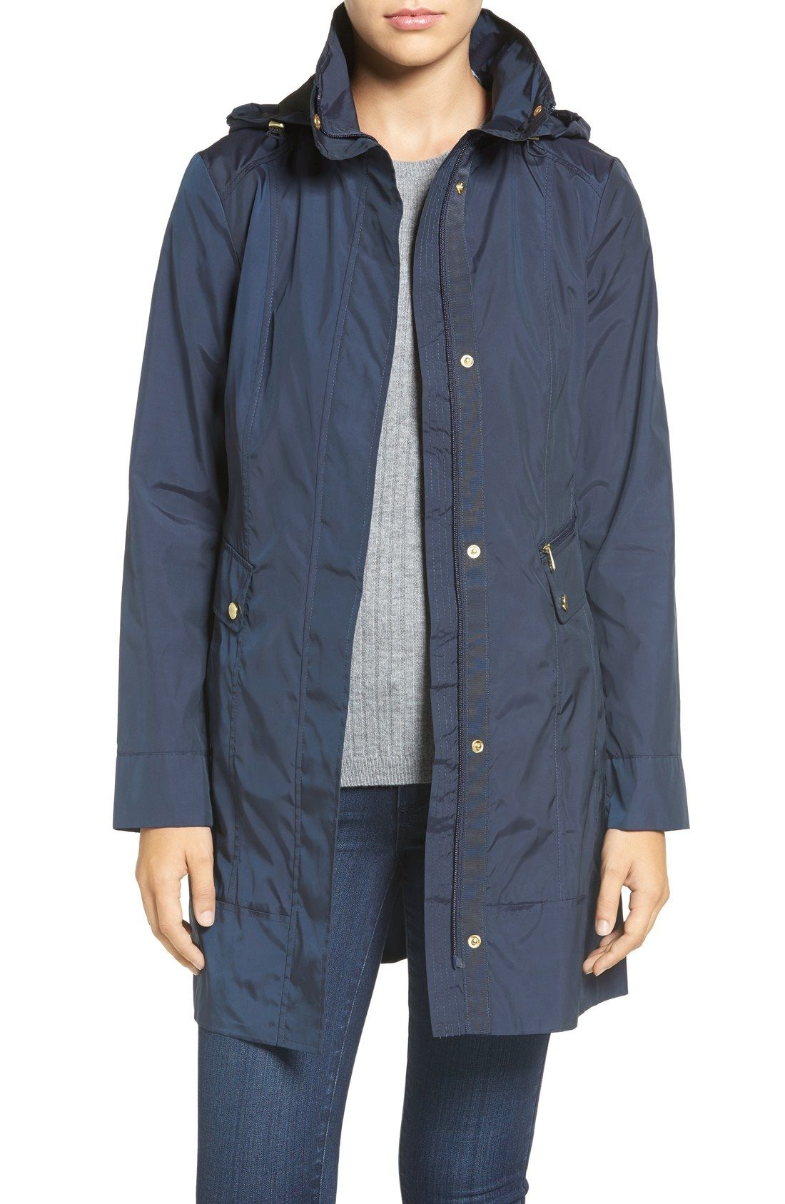 Cole Haan Signature Back Bow Packable Hooded Raincoat (Petite) available at #Nordstrom