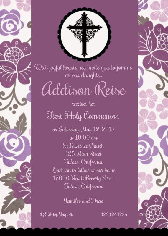 Communion invitation girl purple floral by andrewandelladesigns items similar to communion invitation girl purple floral cross custom digital invitation print yourself on etsy solutioingenieria Image collections