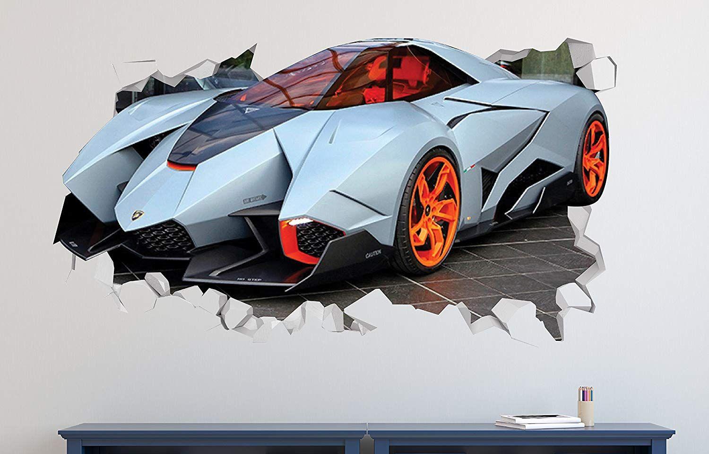 Amazon Com Lamborghini Stylish Expensive Wall Decal Smashed 3d Sticker Vinyl Decor Mural Sport Car Broken Wall 3d Design Vinyl Decor 3d Stickers 3d Design [ 959 x 1500 Pixel ]