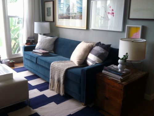 Blue Couch Grey Walls
