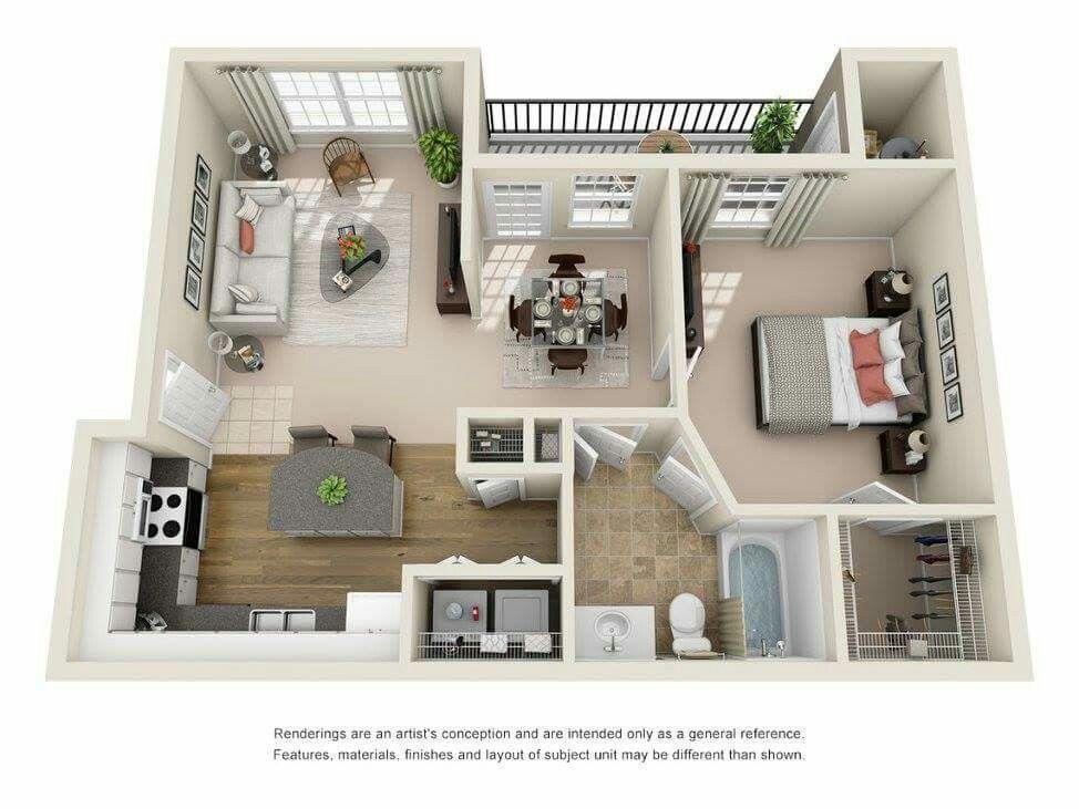 842 Sq Ft One Bedroom One Bath Floor Plan Sims House Plans Sims House Design Small House Plans