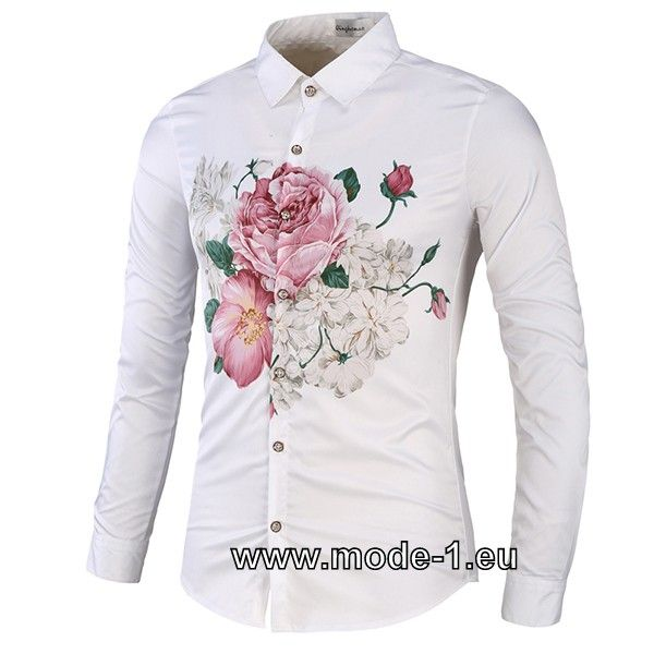 Herren Hemd in Weiß mit Blumen Print #langarm #print # ...