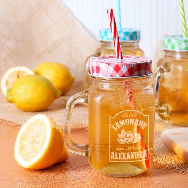 trinkglas mit deckel und retro limonaden etikett frauengeschenke pinterest home. Black Bedroom Furniture Sets. Home Design Ideas