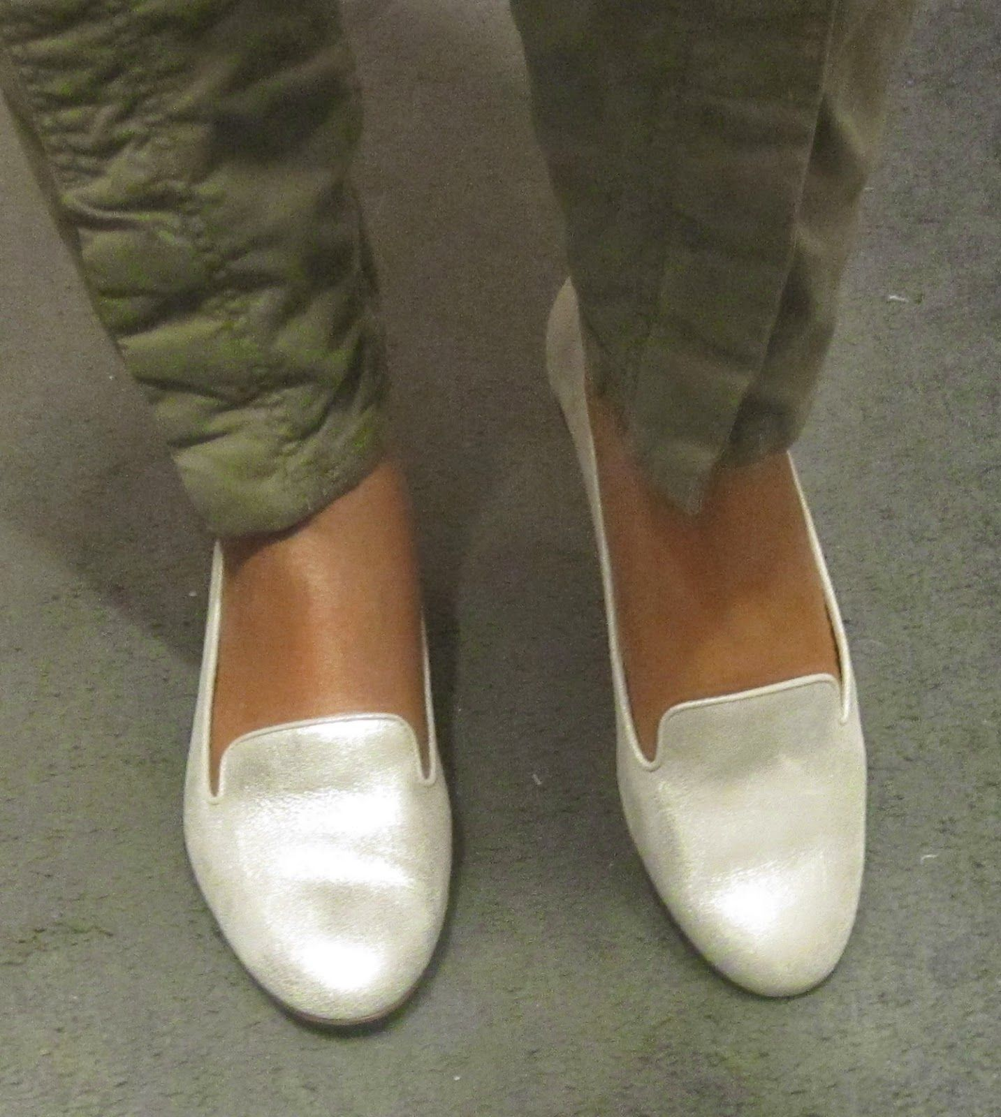 A Thousand Sixty Pairs: J Crew metallic suede Cleo loafers